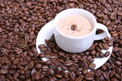 Cappuccino VI. A picture of a cup of cappuccino with coffee beans Stock Photography