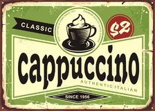 Cappuccino vintage cafe sign on old metal background. Cappuccino vintage cafe sign with coffee cup on green background. Retro coffee shop advertising royalty free illustration