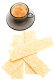 Cappuccino and wafer bread over white Royalty Free Stock Photography