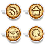 Cappuccino with web icons Royalty Free Stock Images
