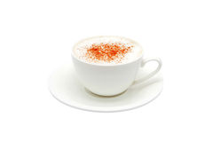 Cappuccino in a white bowl with grated chocolate. Stock Photo