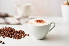 Cappuccino in a white ceramic coffee cup with roasted coffee beans. Feminine rose background with copy space. High resolution image, narrow depth of field stock photography
