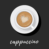 Cappuccino in white Cup with chocolate. Cappuccino in white Cup on saucer with heart pattern on the foam and sprinkled with chocolate. Vector illustration top Royalty Free Stock Photography