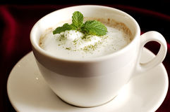 Cappuccino of Yegu & Fresh duck Liver soup. Cappuccino Fresh duck Liver soup. coffee. A cup of cappuccino Royalty Free Stock Photo