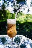 Cappuccinoijs in de tuin van de koffiewinkel Stock Foto