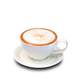 Cappuccinokaffe i den vita koppen Royaltyfri Fotografi