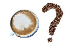 Cappuccinokopp kaffe och frågefläck som göras av grillade espressokaffebönor Fotografering för Bildbyråer
