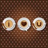 Cappuccinokoppen med ord älskar jag dig vektor illustrationer