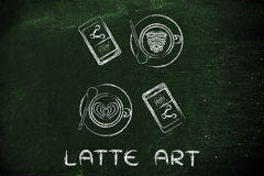 Cappuccinos, bakery and phones with text Latte Art Royalty Free Stock Image