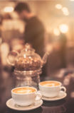 Cappuccinos in a cafe Royalty Free Stock Photos