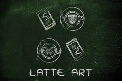 Cappuccinos, piekarnia i telefony z teksta Latte sztuką, ilustracja wektor
