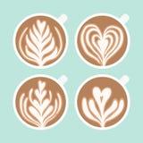Cappuccinoschaumzeichnung Kaffee-Kunst Stockfoto