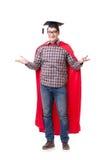 Cappuccio d'uso di laurea del bordo del mortaio dello studente dell'eroe eccellente isolato Fotografie Stock