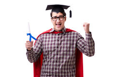 Cappuccio d'uso di laurea del bordo del mortaio dello studente dell'eroe eccellente isolato Immagini Stock