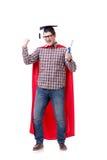 Cappuccio d'uso di laurea del bordo del mortaio dello studente dell'eroe eccellente isolato Fotografia Stock