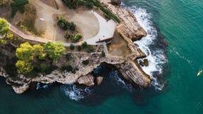 Cappuccio de Salou, spiaggia di Costa Dorada - destinazione di viaggio in Spagna immagine stock