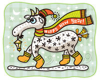 Cappuccio della capra in rosso, buon anno! Immagini Stock Libere da Diritti