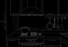 Cappuccio della cucina con gli armadietti e la disposizione in bianco e nero degli apparecchi Fotografia Stock Libera da Diritti