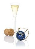 Cappuccio di Champagne con l'iscrizione 75 anni Immagini Stock Libere da Diritti