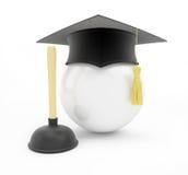 Cappuccio di graduazione della scuola degli idraulici su fondo bianco Immagine Stock Libera da Diritti