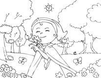 Cappuccio di guida rosso di coloritura con i fiori Immagini Stock Libere da Diritti