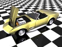 cappuccio dorato dell'automobile sportiva 3d in su Immagine Stock Libera da Diritti