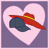 Cappuccio e cappello amorosi delle coppie Immagine Stock Libera da Diritti