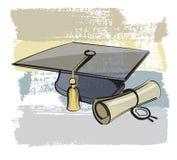 Cappuccio e diploma di graduazione illustrazione vettoriale