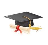 Cappuccio e diploma di graduazione Fotografia Stock Libera da Diritti