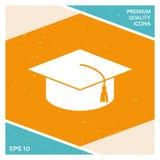 Cappuccio matrice per i laureati, cappuccio accademico quadrato, icona del cappuccio di graduazione Fotografie Stock