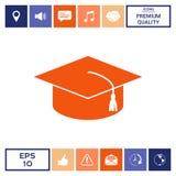 Cappuccio matrice per i laureati, cappuccio accademico quadrato, icona del cappuccio di graduazione Immagine Stock