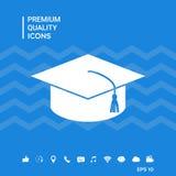 Cappuccio matrice per i laureati, cappuccio accademico quadrato, icona del cappuccio di graduazione Fotografia Stock