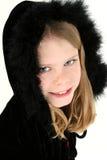 Cappuccio nero della piuma Fotografia Stock