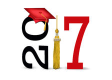 Cappuccio rosso di graduazione per 2017 Fotografie Stock