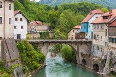 The Cappuchin Bridge, the oldest preserved bridge in Slovenia stock photo