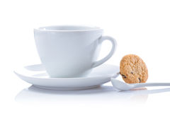 Cappuchino cup and cookie isolated Royalty Free Stock Photography