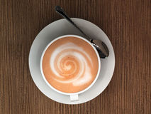 Cappucino. Cappuccino on brown wooden table stock illustration