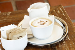 Cappucino coffee with froth and chocolate shavings Royalty Free Stock Image