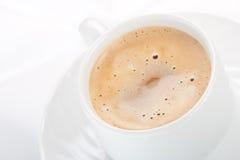 Cappucino coffee mug. Cappuccino coffee mug on white background stock photo