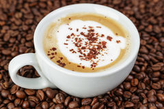 Cappucino in cup on coffee beans. Coffee theme stock photos