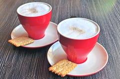 Cappucino med kex Royaltyfria Foton