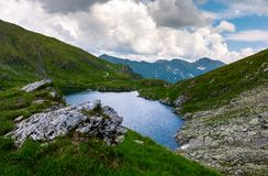 Capra glacier of Fagaras mountains. Of Romania. gorgeous summer landscape with beautiful sky. grassy hills with rocky cliff and some snow Royalty Free Stock Photography