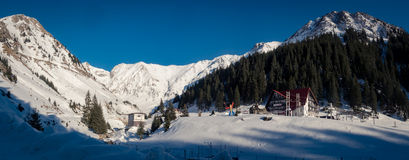 Capra mountain resort in winter snow. Winter scape in Fagaras mountains at Capra Resort stock photos