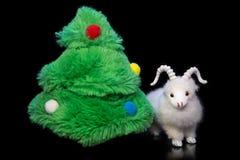 Capra o pecore con l'albero di abete Fotografia Stock