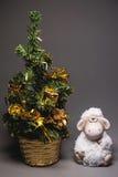 Capra o pecore con l'albero di abete Immagini Stock Libere da Diritti