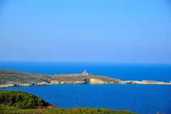Capraia View. From San Nicola island, Tremiti, Italy Stock Photography