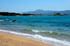 Caprera seascape. With beautiful sea and beach, mountains Royalty Free Stock Images