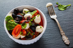 Caprese沙拉、小无盐干酪乳酪、新鲜的绿色叶子、黑橄榄和西红柿在白色葡萄酒在石backgr滚保龄球 库存图片