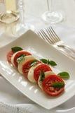 Caprese沙拉用成熟蕃茄和无盐干酪乳酪与新鲜的蓬蒿离开 烹调意大利语的食品成分 库存图片