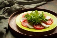 Caprese沙拉用蕃茄无盐干酪,绿色 免版税库存照片